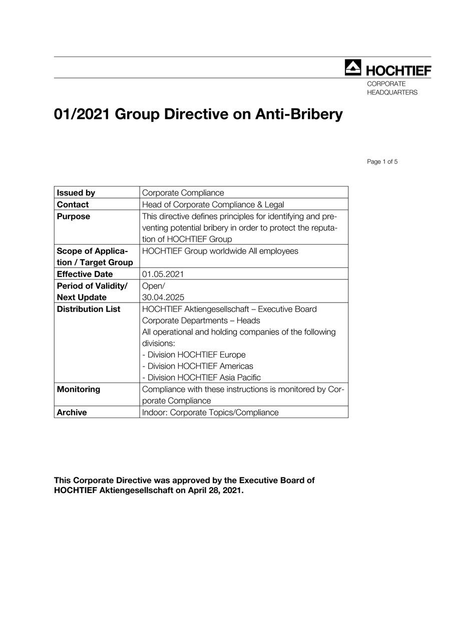 HOCHTIEF Group Directive on Anti-Bribery