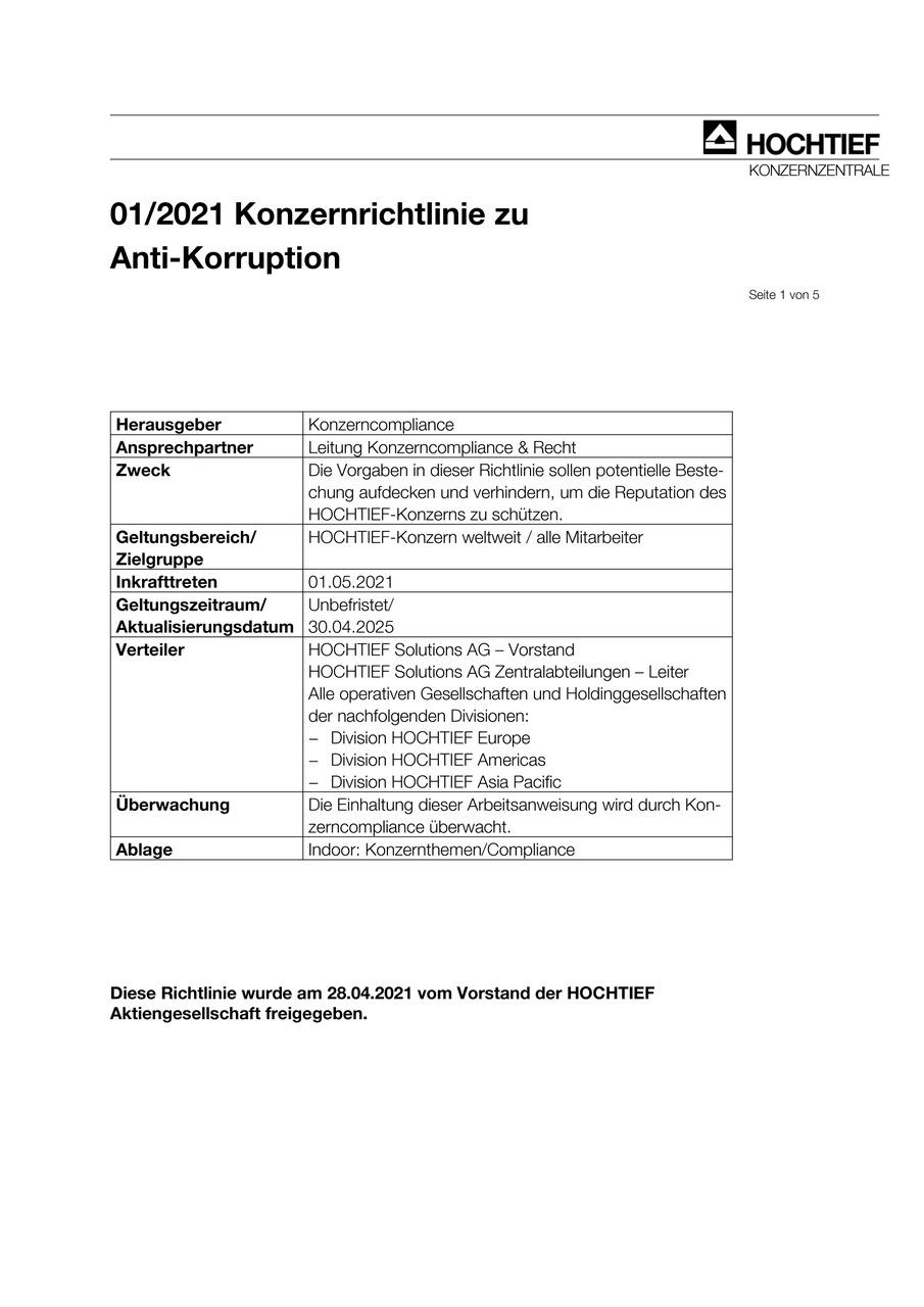 HOCHTIEF-Konzernrichtlinie zu Anti-Korruption